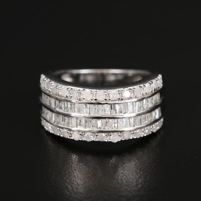 Sterling 1.00 CTW Diamond Double Row Ring