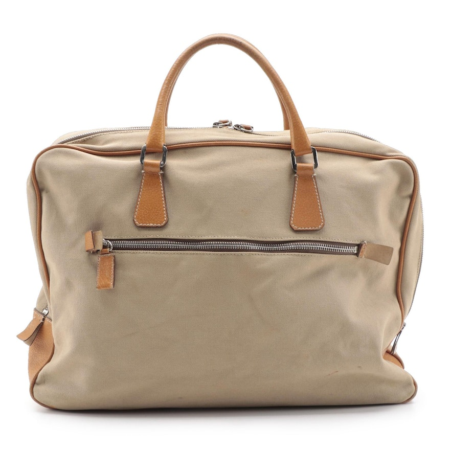 Prada Zippered Briefcase Bag in Canapa Canvas with Leather Trim