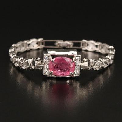 Vintage 14K 5.24 CT Tourmaline and Diamond Bracelet