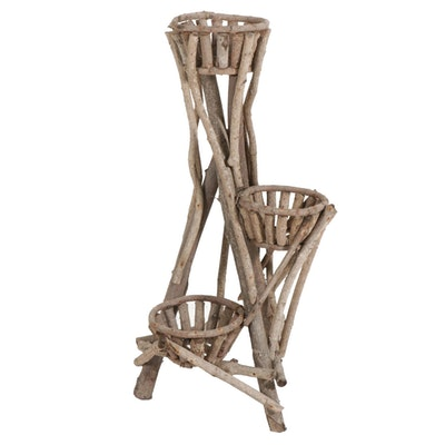 Rustic Stick Construction Three Tier Plant Stand
