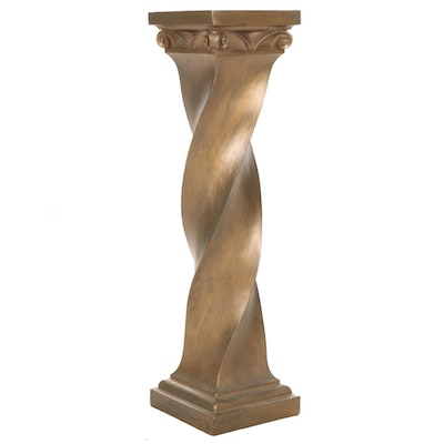Twisted Pillar Painted Wood Pedestal, Late 20th Century