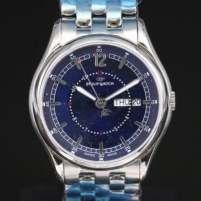 Philip Watch Day-Date Stainless Steel Quartz Wristwatch