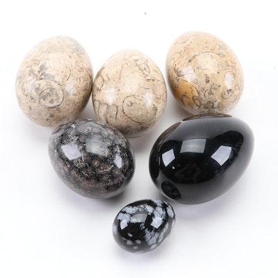 Polished Fossiliferous, Limestone, Stone and Snowflake Obsidian Eggs