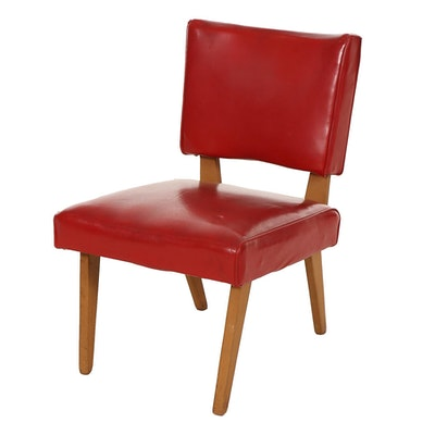 Viking Artline Mid Century Modern Red Vinyl Side Chair