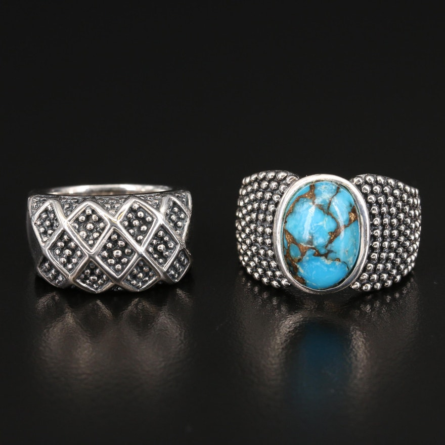 Michael Dawkins Sterling Silver Rings Featuring Turquoise