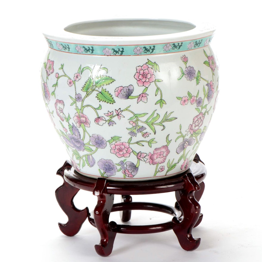 Chinese Floral Ceramic Fish Bowl Planter with Wooden Stand, Late 20th Century