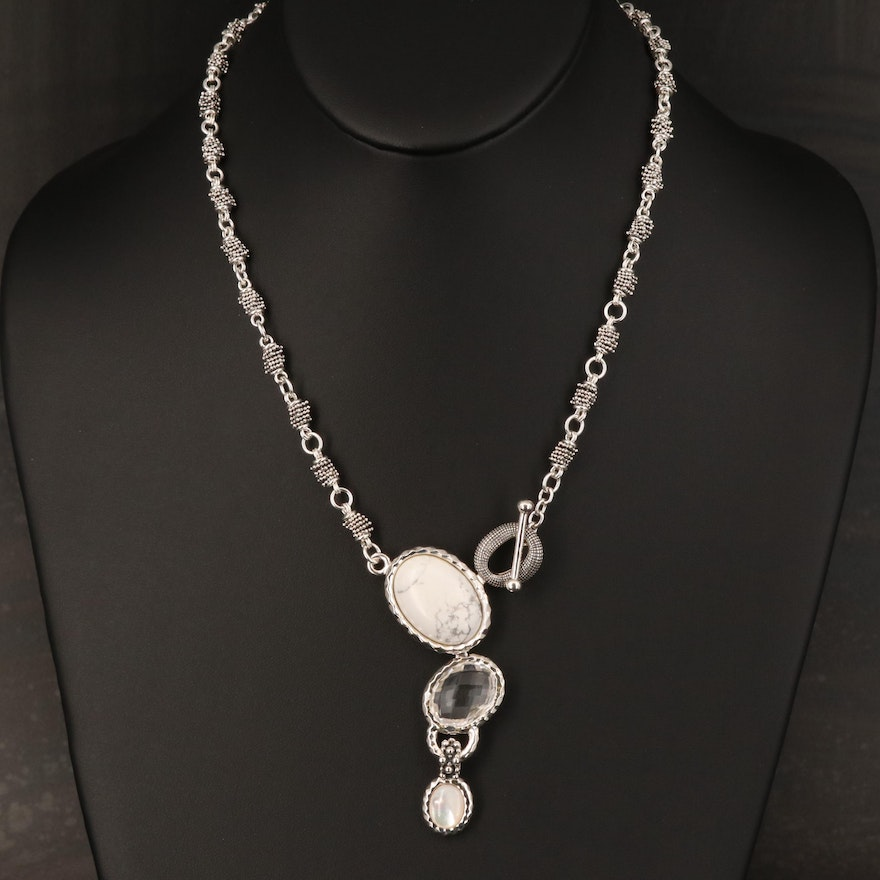 Michael Dawkins Magnesite, Rock Quartz Crystal and Mother of Pearl Necklace