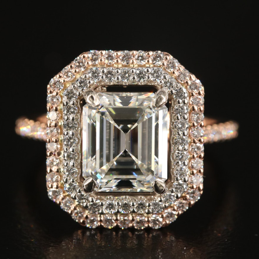 14K Rose Gold 3.91 CTW Diamond Ring with GIA Report