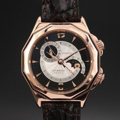 Concord Mariner Reveil Alarm Moonphase 18K Rose Gold Wristwatch