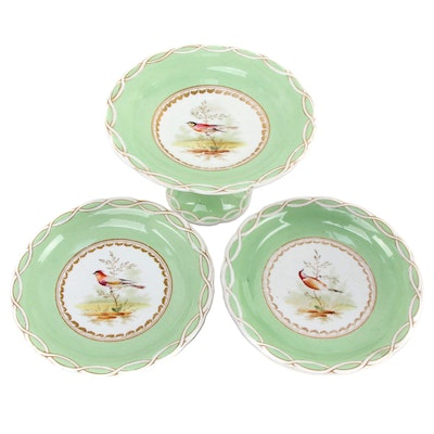 Old Pairs Hand-Painted Porcelain Bird Tazzas, Mid to Late 19th Century