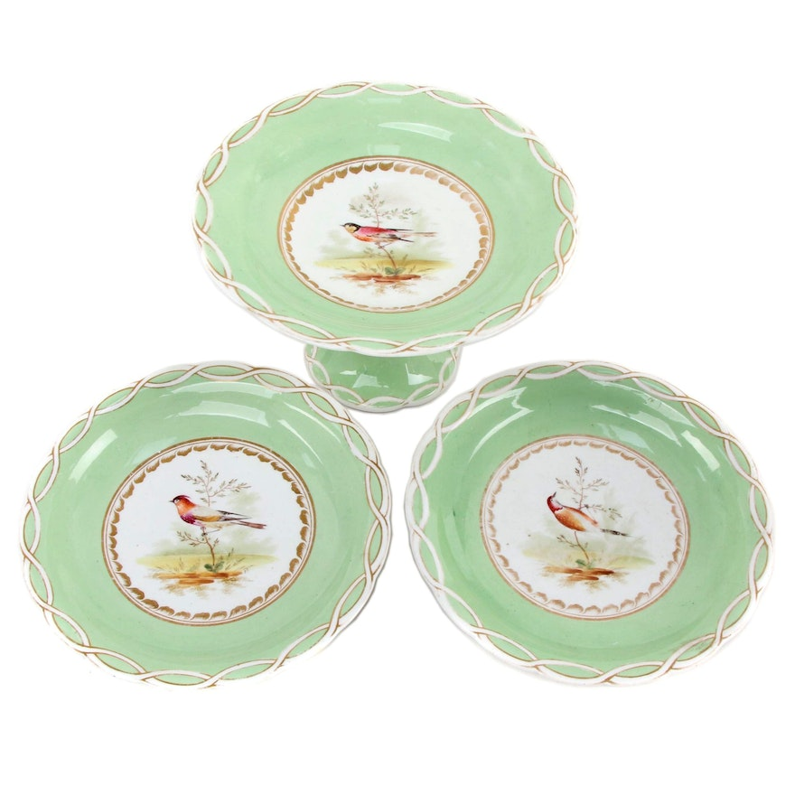 Old Paris Hand-Painted Porcelain Bird Tazzas, Mid to Late 19th Century