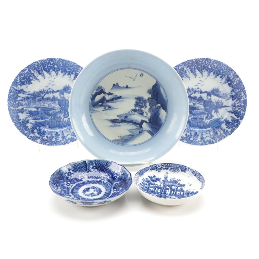 """Worcester """"Classical Ruins"""" Dish with Other East Asian Blue and White Tableware"""
