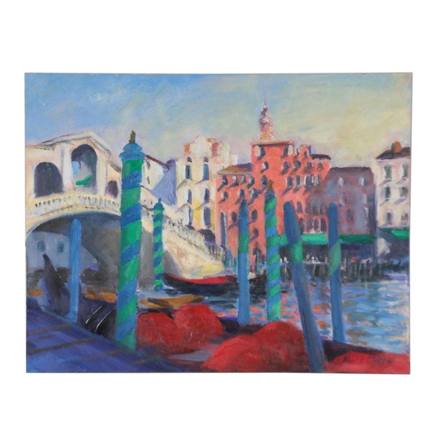 "Nino Pippa Oil Painting ""Venice-The Rialto Bridge,"" 2014"