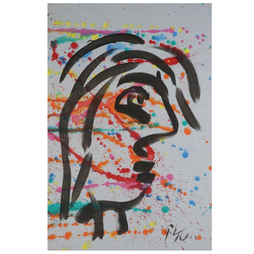 Peter Keil Abstract Portrait Acrylic Painting, 21st Century