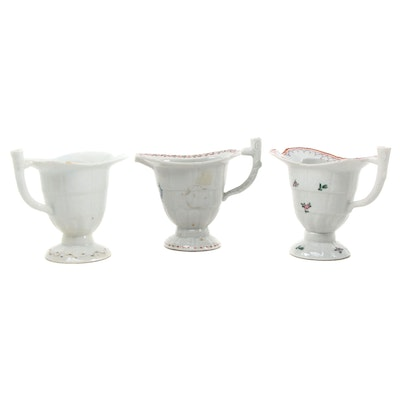 Chinese Export Porcelain Helmet Cream Jugs, Late 18th to Early 19th Century