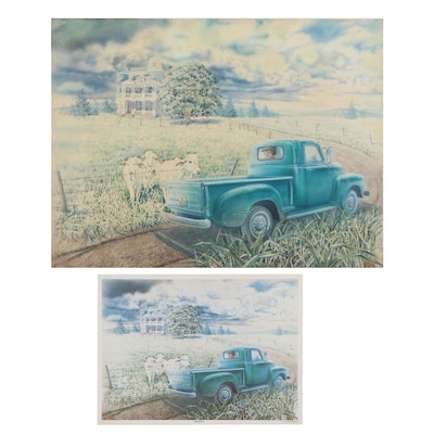 """Raymond Zaplatar Preliminary Watercolor Painting and Offset Lithograph """"Brahmas"""""""