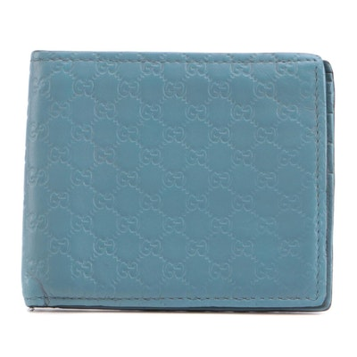 Gucci Guccissima Light Blue Leather Bifold Wallet
