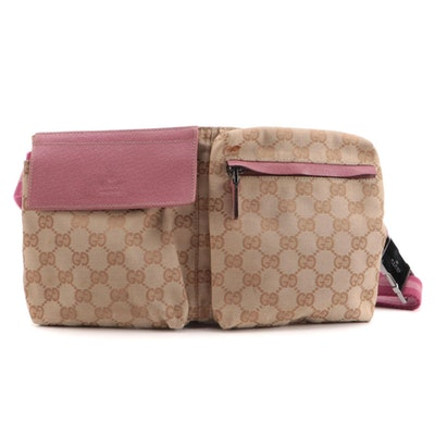 Gucci GG Canvas and Pink Leather Belt Bag