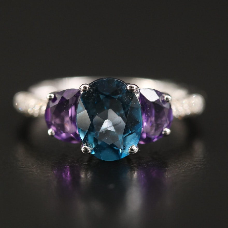 Sterling Topaz and Amethyst Ring with Pavé Diamond Shoulders