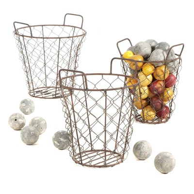 Metal Harvest Baskets with Plaster Balls and Plastic Fruit