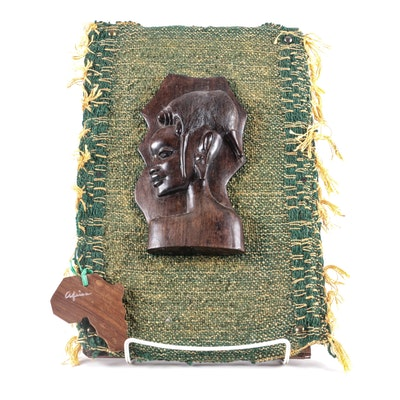 Maasai Inspired Carved Figural Wood and Fiber Wall Plaque