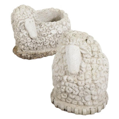 Two Whimsical Sheep Form Garden Planters