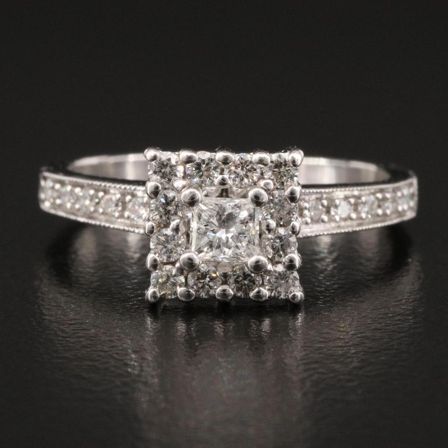 14K Diamond Geometric Cluster Ring