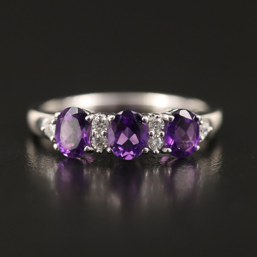 Sterling Amethyst and Diamond Ring