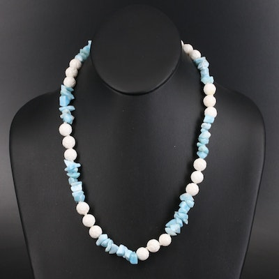 Larimar and Agate Bead Necklace with 14K Clasp