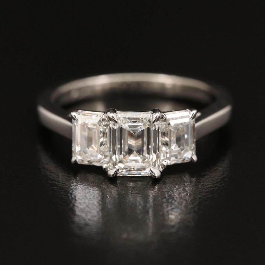 Platinum 2.11 CTW Internally Flawless Diamond Three Stone Ring with GIA Reports