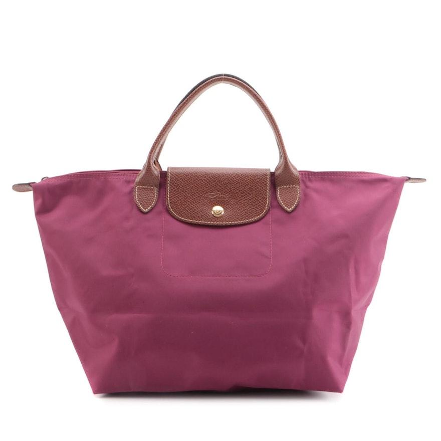 Longchamp Le Pliage Magenta Nylon Tote Bag with Leather Trim