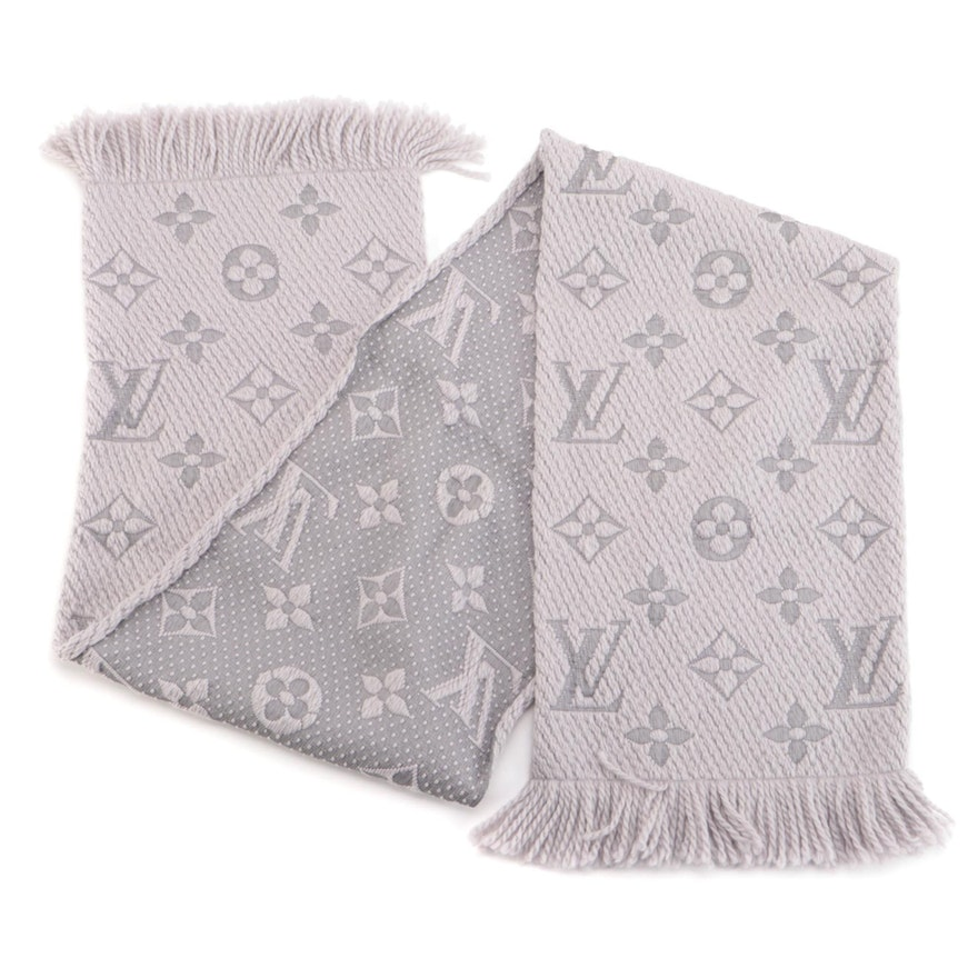 Louis Vuitton Monogram Logomania Scarf in Pearl Grey Wool and Silk Blend