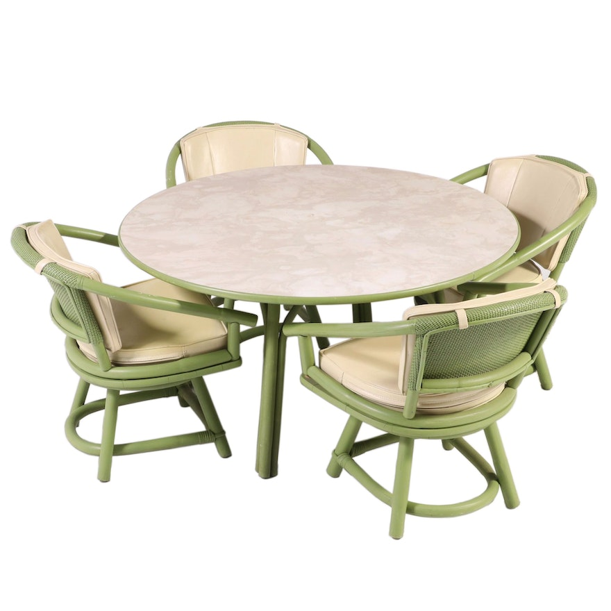 Ficks Reed Green-Painted Rattan Patio Dining Set, Mid-20th Century