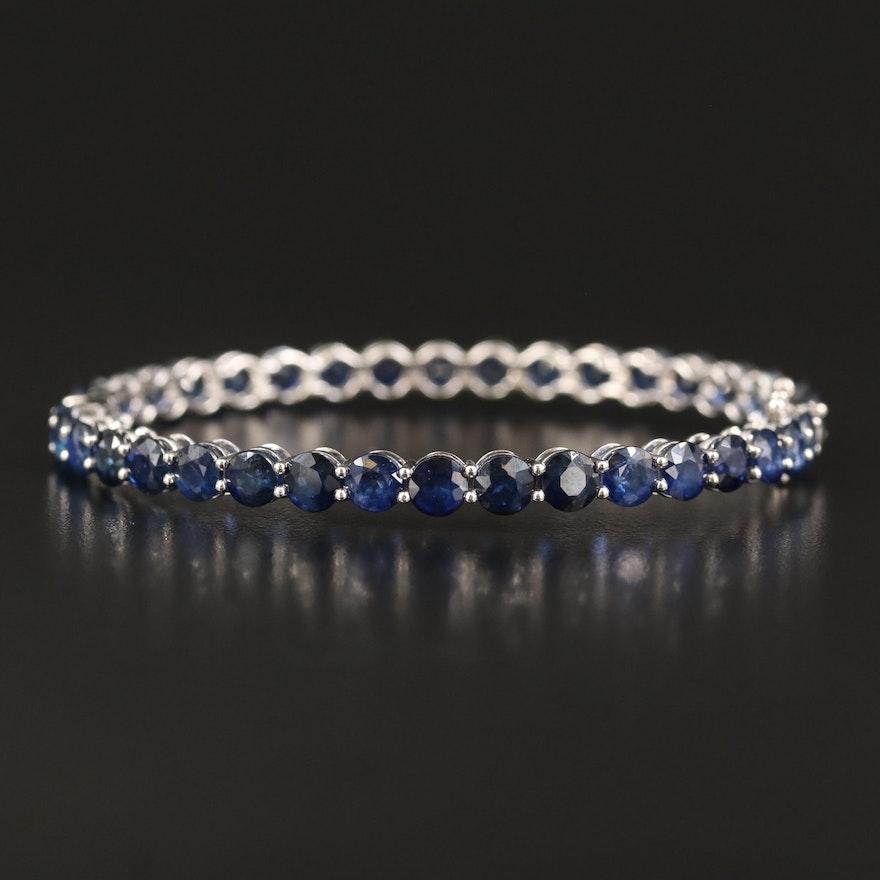 14K Sapphire Hinged Bangle