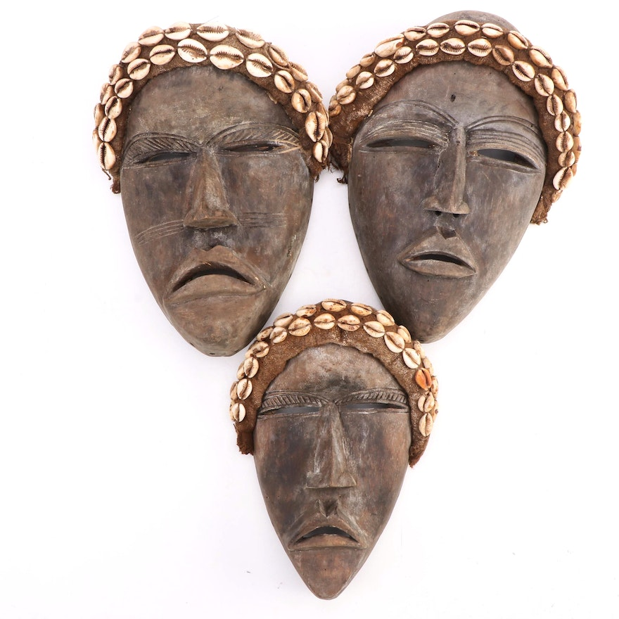 Dan Style Hand-Carved Wood Masks, West Africa