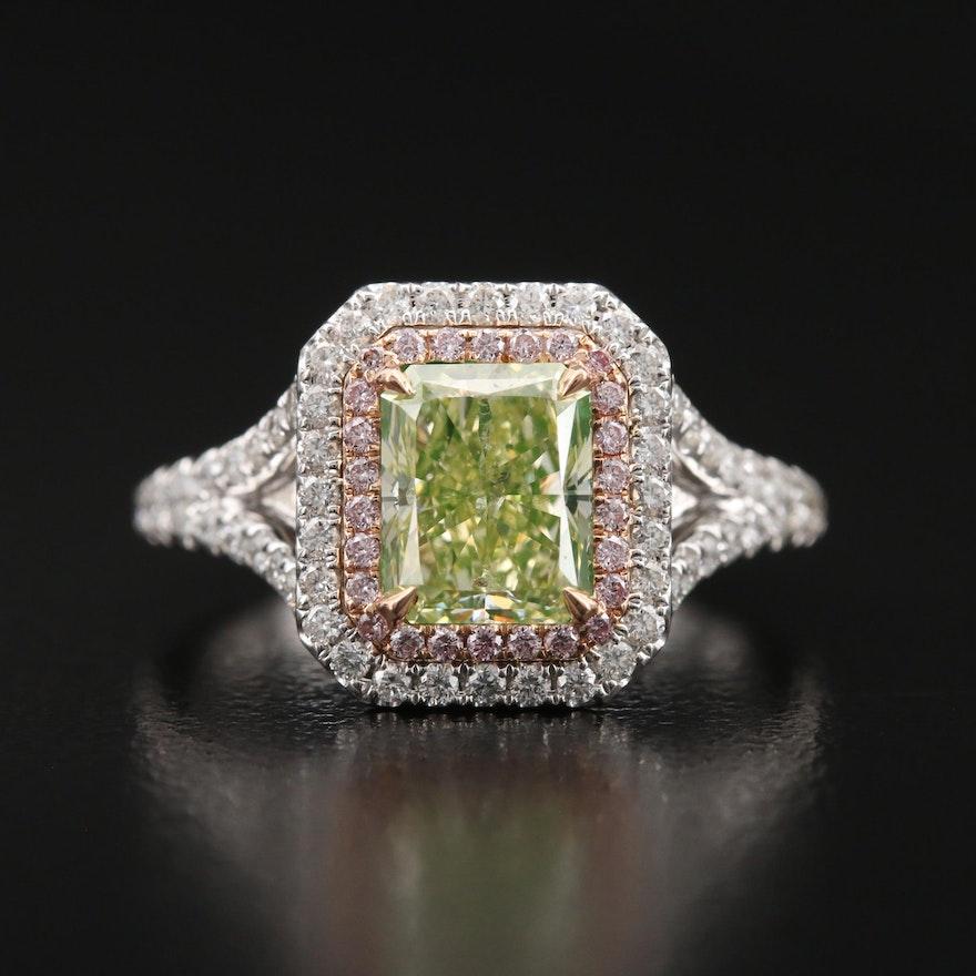 18K 2.06 CTW Diamond Double Halo Ring with GIA Report