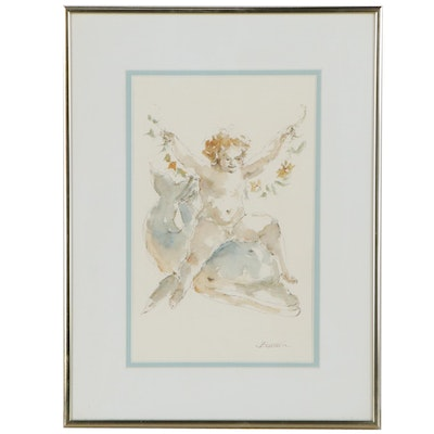 """Charles Burdick Watercolor Painting """"Putto on Dolphin,"""" Late 20th Century"""