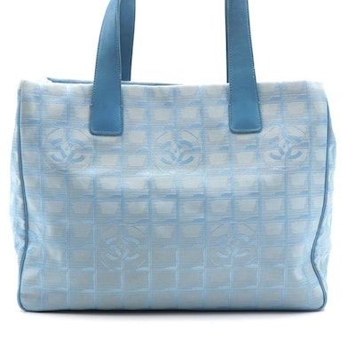 Chanel CC Traveline Tote in Light Blue Nylon and Leather
