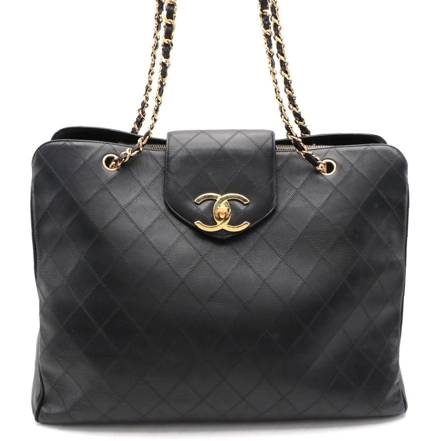 Chanel CC Supermodel Weekender Bag in Diamond Stitched Black Lambskin Leather