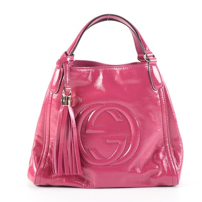 Gucci Soho Pink Patent Leather Two-Way Bag with Tassel