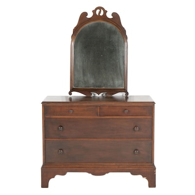 Marvel Furniture Mahogany Chest of Drawers and Federal Style Wall Mirror