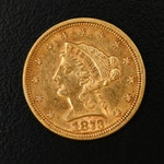 Low Mintage 1873 Liberty Head $2.50 Quarter Eagle Gold Coin