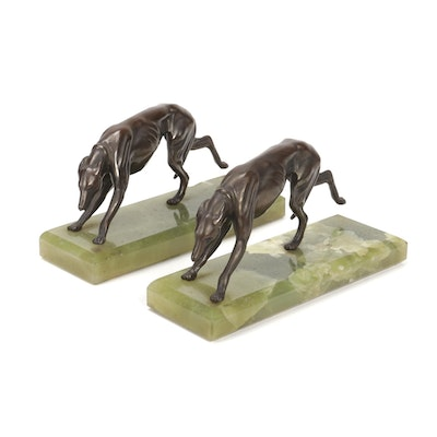 Art Deco Bronze Greyhound Bookends on Onyx Bases, Early to Mid 20th Century