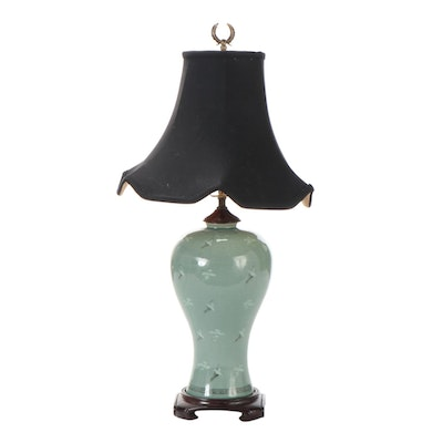 Chinese Porcelain Celadon Table Lamp with Crane and Cloud Motif