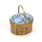 Limoges Forget-Me-Not Porcelain Basket Box