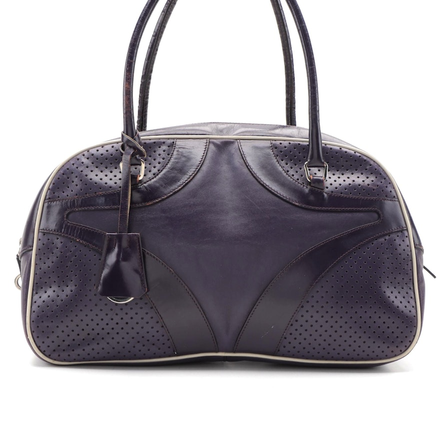 Prada Bowling Bag in Dark Purple Smooth and Perforated Leather