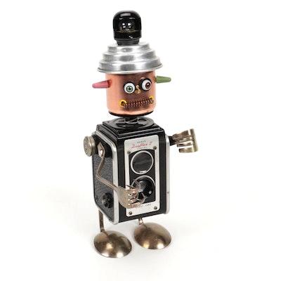 "Allii Cat Designs Found Object ""Junkyard Robot"" Sculpture ""Kip Kodak"""