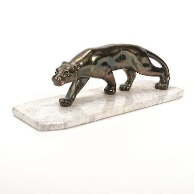 Artemetalica Cast Brass Cougar Sculpture on Marble Base