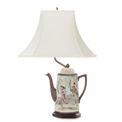 Japanese Moriage Porcelain Coffee Pot Mounted Table Lamp