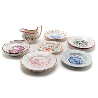 English Pearlware and Lusterware Ceramic Plates, 19th Century